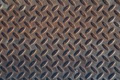Textura industrial suja oxidada do fundo da placa do verificador com Ru Foto de Stock Royalty Free