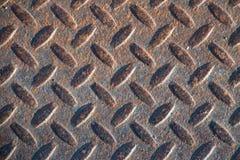 Textura industrial suja oxidada do fundo da placa do verificador com Ru Fotografia de Stock Royalty Free