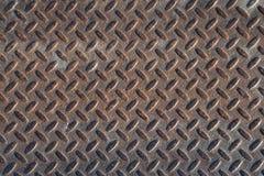 Textura industrial suja oxidada do fundo da placa do verificador com Ru Imagem de Stock Royalty Free