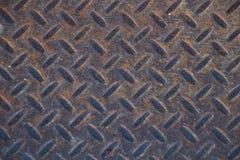 Textura industrial suja oxidada do fundo da placa do verificador com Ru Foto de Stock