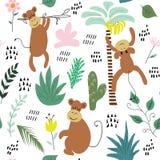 Textura infantil de la selva con los monos y los elementos de la selva Ejemplo inconsútil del vector del modelo libre illustration