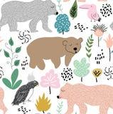 Textura infantil de la selva con los osos, el pájaro y los elementos de la selva Ejemplo inconsútil del vector del modelo ilustración del vector