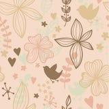 Teste padrão sem emenda bonito com flores e pássaros. Fundo floral abstrato. Ilustração do vetor ilustração royalty free