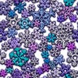 Textura Jointless de flocos de neve diferentes no fundo branco Foto de Stock Royalty Free