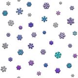 Textura Jointless de flocos de neve diferentes no fundo branco Fotografia de Stock Royalty Free