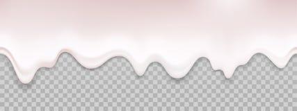 Textura líquida del yogur Fondo inconsútil de la leche de la crema del goteo del vector ilustración del vector