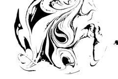 Textura líquida preto e branco Ilustração marmoreando tirada mão da aquarela Fundo abstrato do vetor monocromático Imagens de Stock Royalty Free