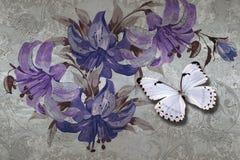 textura, lirios y mariposas del papel pintado 3d en fondo del muro de cemento Efecto de los murales ilustración del vector