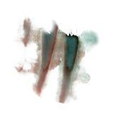 Textura macra de la mancha del verde del marrón del punto de la acuarela líquida del tinte del watercolour de la salpicadura de l fotografía de archivo libre de regalías
