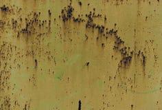 Textura marrom oxidada do ferro, cerca velha verde com descascamento da pintura Papel de parede Textured para o projeto ilustração stock