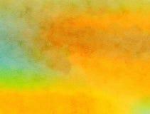 Textura mezclada Watercolour de la pintura del ocre amarillo Foto de archivo