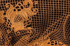 Textura, modelo el cordón de la tela es de oro, pardusco-amarillo Shinni Fotografía de archivo