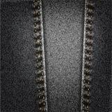 Textura negra de la tela del dril de algodón de los vaqueros con la puntada Imagen de archivo