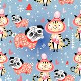 Textura no inverno dos gatos e dos pugs do amor ilustração stock