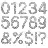 Textura 0 - 9 numéricos da folha de alumínio da fonte Foto de Stock