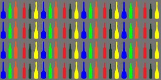 Textura olorful del modelo de los gráficos de vector del fondo de las botellas del ¡de Ð, papel pintado stock de ilustración