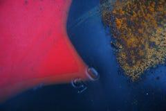 Textura oxidada velha do metal pintada com pintura azul Fotografia de Stock