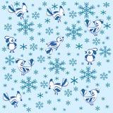 Textura Pássaros e flocos de neve ilustração do vetor