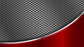 Textura perforada metal con el elemento de acero rojo Animación ligera brillante ilustración del vector