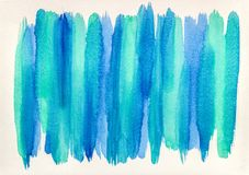 Textura pintado ? m?o da aquarela com tiras verdes azuis fotografia de stock