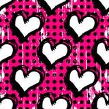 Textura psicodélica abstracta del grunge de la pintada del fondo del corazón Fotografía de archivo