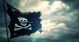 Textura rasgada de la bandera del cráneo del pirata que agita en viento, símbolo de la tela del grunge del rasgón vieja del pirat stock de ilustración
