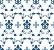 Textura real azul sem emenda com flor de lis Fotos de Stock