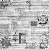 Textura retra de madera del vintage y del collage del fondo de las Ephemeras en blanco y negro Imágenes de archivo libres de regalías