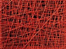 Textura roja abstracta de la cuerda de rosca de líneas irregulares Imagenes de archivo