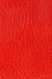Textura roja del cuero genuino Foto de archivo libre de regalías