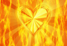 Textura roja del fuego de la llama con el fondo caliente del corazón Fotografía de archivo