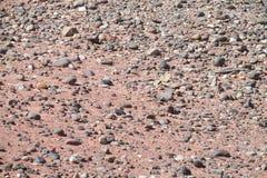Textura roja del suelo seco y de las piedras del desierto Imagenes de archivo
