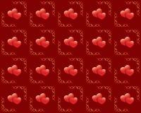 Textura roja inconsútil con los corazones Imagen de archivo