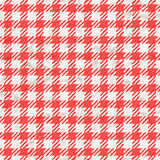 Textura roja y blanca del mantel de la guinga inconsútil Imagen de archivo
