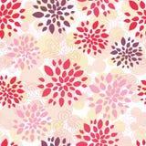 A textura sem emenda abstrata com flores da garatuja sae e circunda no fundo branco Fotografia de Stock