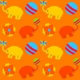 Textura sem emenda colorida com bola e flor do elefante Fotos de Stock Royalty Free