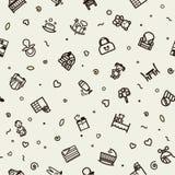 Textura sem emenda com ícones - crianças, berçário Foto de Stock Royalty Free