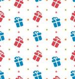 A textura sem emenda com as caixas de presente para comemora Fotos de Stock Royalty Free