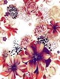 Textura sem emenda com as flores cor-de-rosa e amarelas na técnica da aquarela. Fotografia de Stock