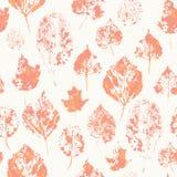 Textura sem emenda com as folhas de outono carimbadas Imagens de Stock Royalty Free