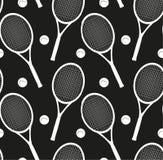Textura sem emenda com as silhuetas das raquetes e uma bola para o tênis Foto de Stock Royalty Free