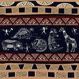 Textura sem emenda com as silhuetas dos dinossauros, do hipopótamo e do giraff Fotografia de Stock