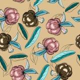 Textura sem emenda com bagas e folhas. Ilustração do Vetor