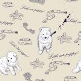 Textura sem emenda com filhotes de cachorro bonitos Ilustração Royalty Free