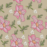 Textura sem emenda com a flor cor-de-rosa tropical. Ilustração Royalty Free