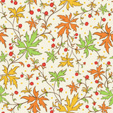 Textura sem emenda com folhas e bagas Foto de Stock Royalty Free