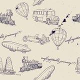 Textura sem emenda com jogo do transporte do vintage. Ilustração Stock