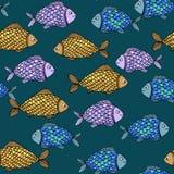 Textura sem emenda com peixes Fotos de Stock