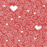 Textura sem emenda da cor vermelha com corações e teste padrão do redemoinho Fotos de Stock