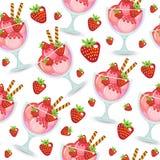 Textura sem emenda da sobremesa do gelado em um copo de vidro Fundo da agitação de leite Gelado doce do papel de parede das crian Foto de Stock Royalty Free